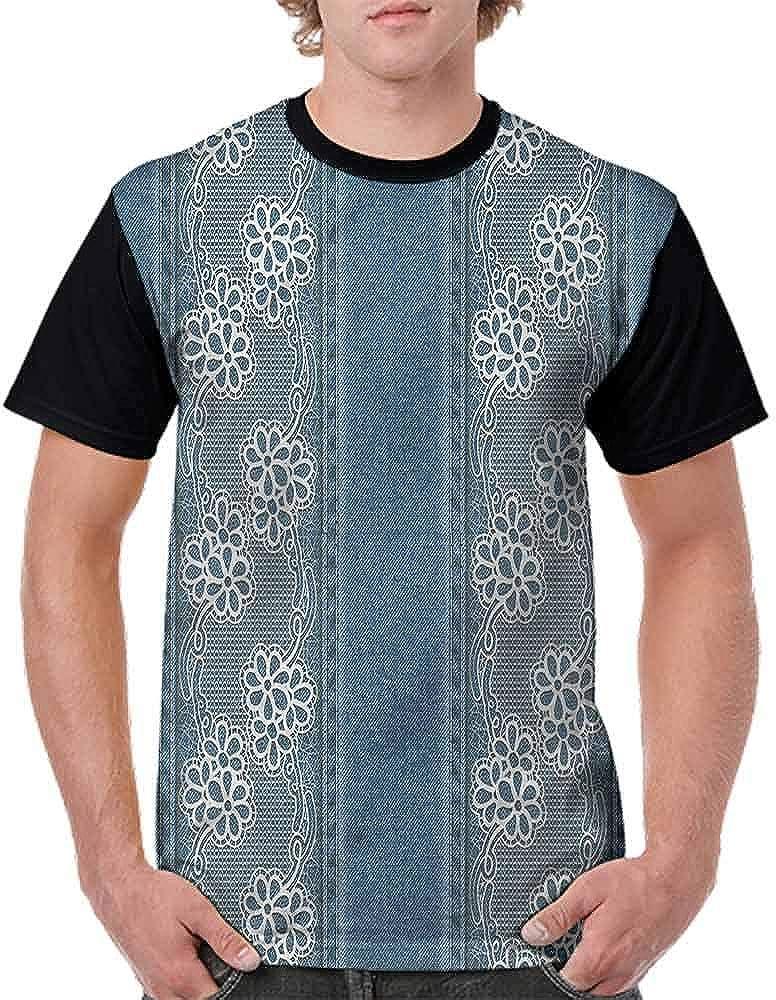 BlountDecor Fashion T-Shirt,White Flowers with Denim Fashion Personality Customization