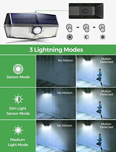 120 LED Solar Lights Outdoor with 270 Wide Angle Illumination, IP67 Waterproof Wireless Solar Motion Sensor Lights,Easy-to-Install Security Lights for Front Door, Yard, Garage, Deck