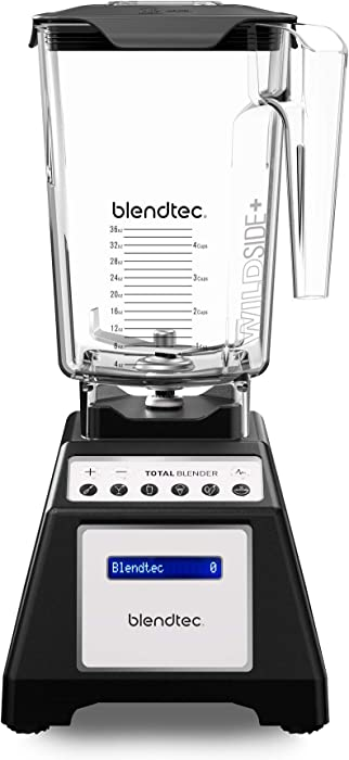 Blendtec Total Classic Original Blender - WildSide plus Jar (90 oz) - Professional-Grade Power - 6 Pre-programmed Cycles - 10-speeds - Black (Renewed)