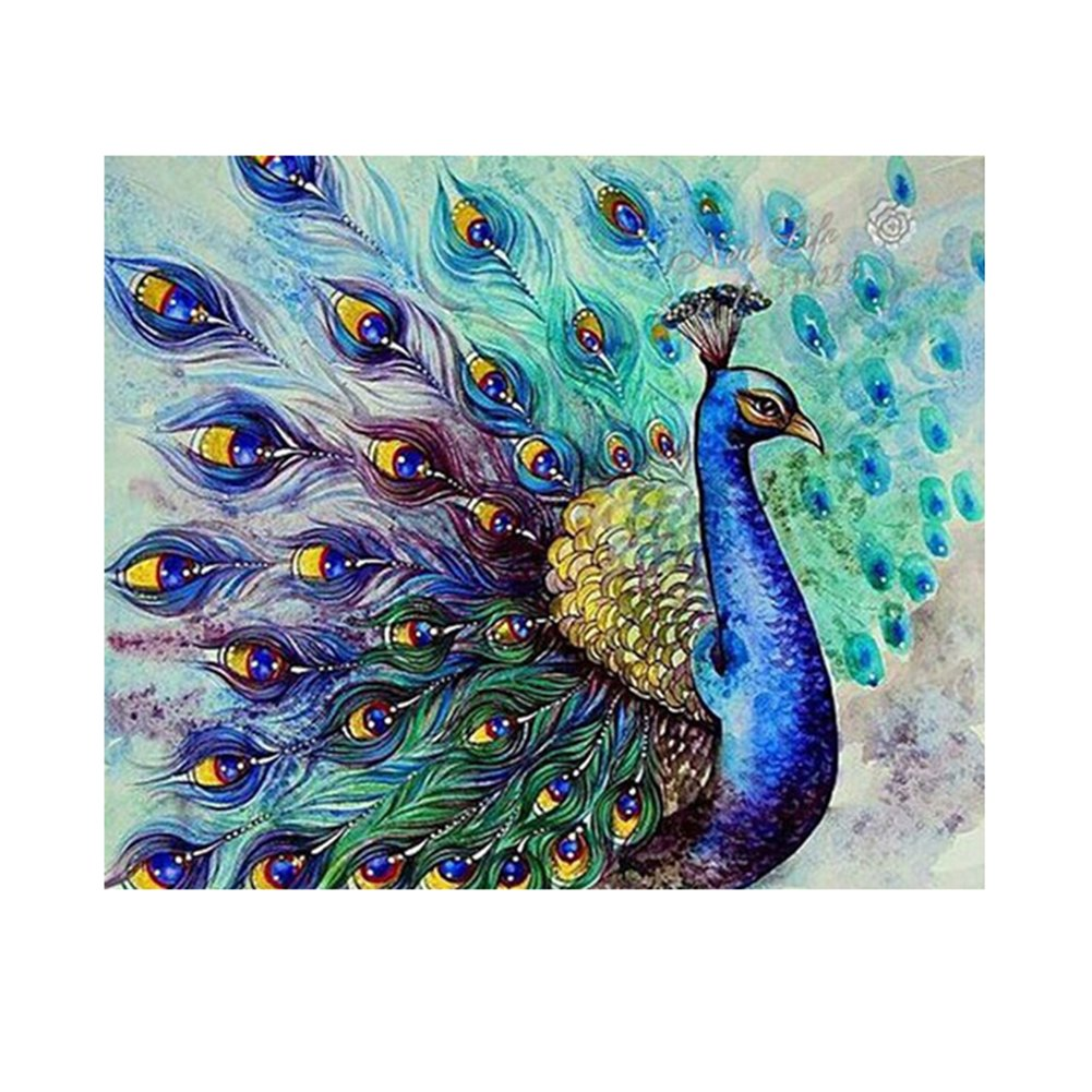 Childplaymate Peacock 5D Diamond DIY Painting Cross Stitch Craft Kit Home Decor(40x30CM)