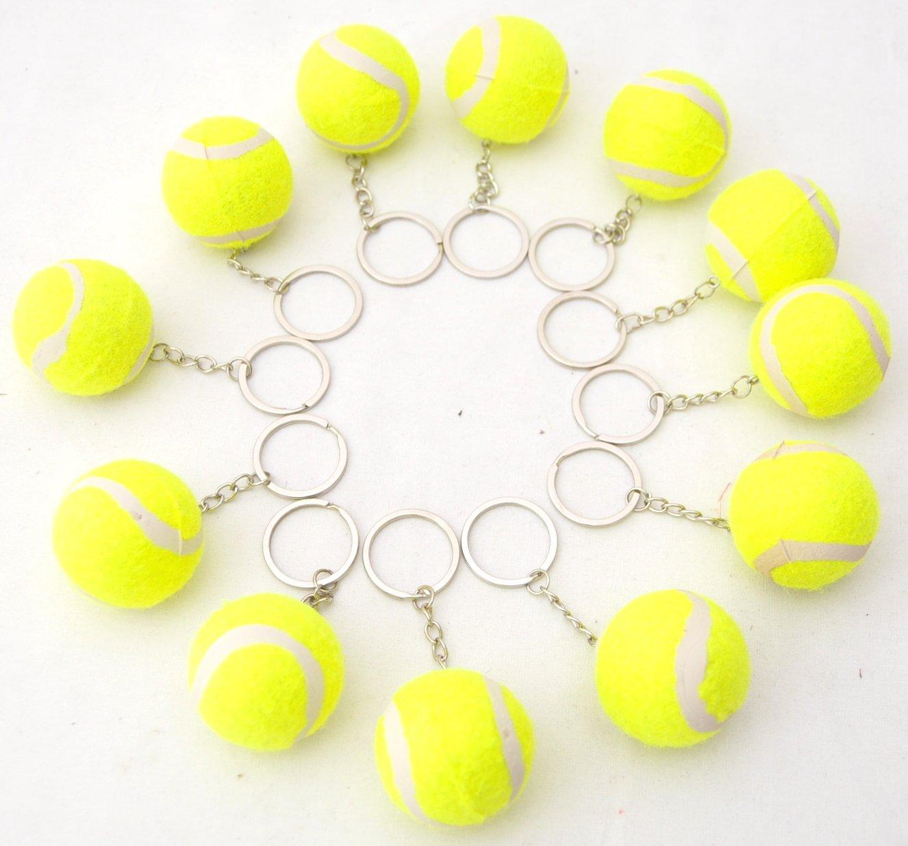12 X Tennisbälle 4 cm Tennis Ball Schlüsselanhänger Gelb by schenkfix schenkfix.de