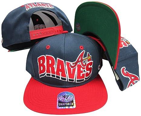 Atlanta Braves azul marino/rojo dos tono plástico snapback ...