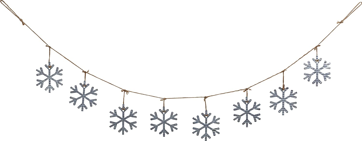 70-Inch Decorative Galvanized Metal Snowflake Christmas Garland - Holiday Wall Banner Decoration for Winter Home Decor