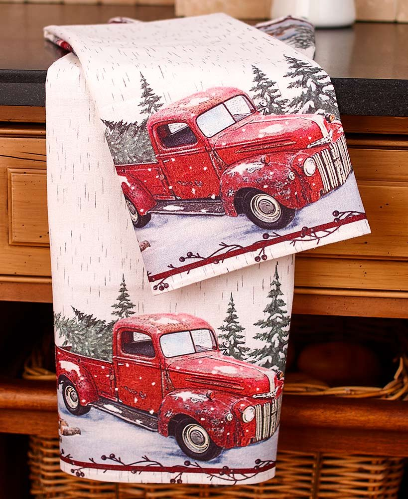 The Lakeside Collection Vintage Country Red Pick Up Truck Kitchen and Bathroom Towels - Set of 2