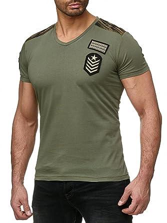 c94cd676819c Redbridge Hommes T-Shirts Militaire Camouflage Stretch V-Cou Manches  Courtes Shirts  Amazon.fr  Vêtements et accessoires