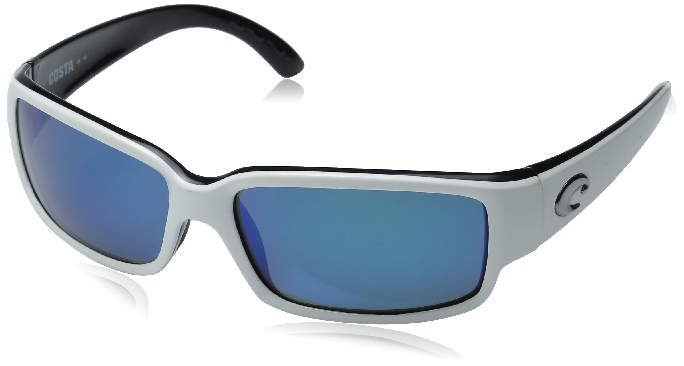 Costa Del Mar Caballito Polarized Sunglasses - Costa 580 Glass Lens Black White/Green Mirror, One Size by Costa Del Mar