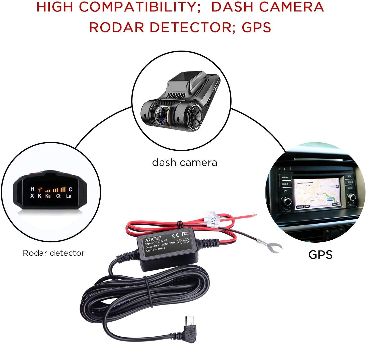 Mini USB Port,DC 12V AUCEE Dash Cam Hardwire kit 36V to 5V//2A Max Car Charger Cable kit with Fuse,Low Voltage Protection for Dash Cameras