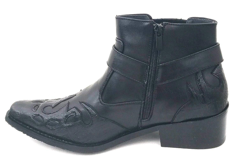 Alberto Fellini W1TCJ Men/'s Cowboy Boots Western Ankle Harness Leather Lining Side Zipper Shoes