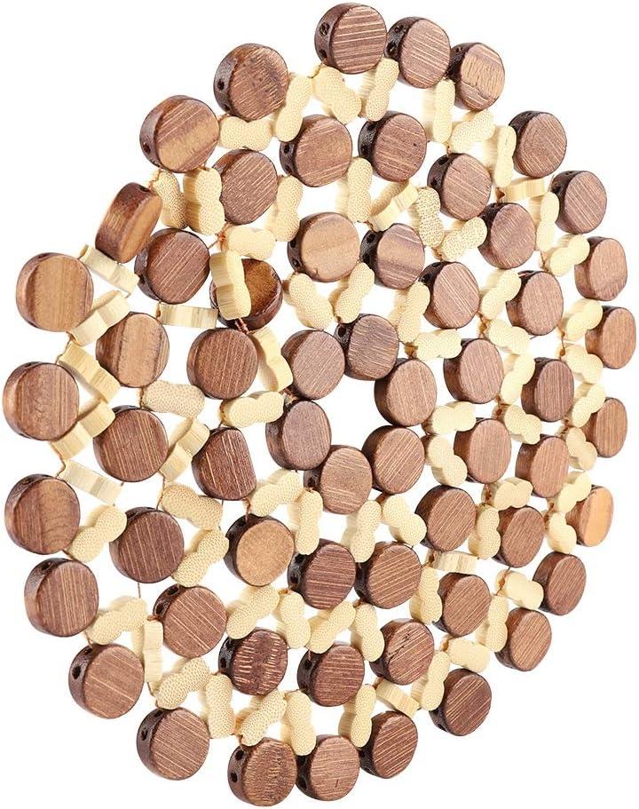 Posavasos redondo de bamb/ú para bebidas resistente al calor mantel individual para proteger mesas mostradores Large