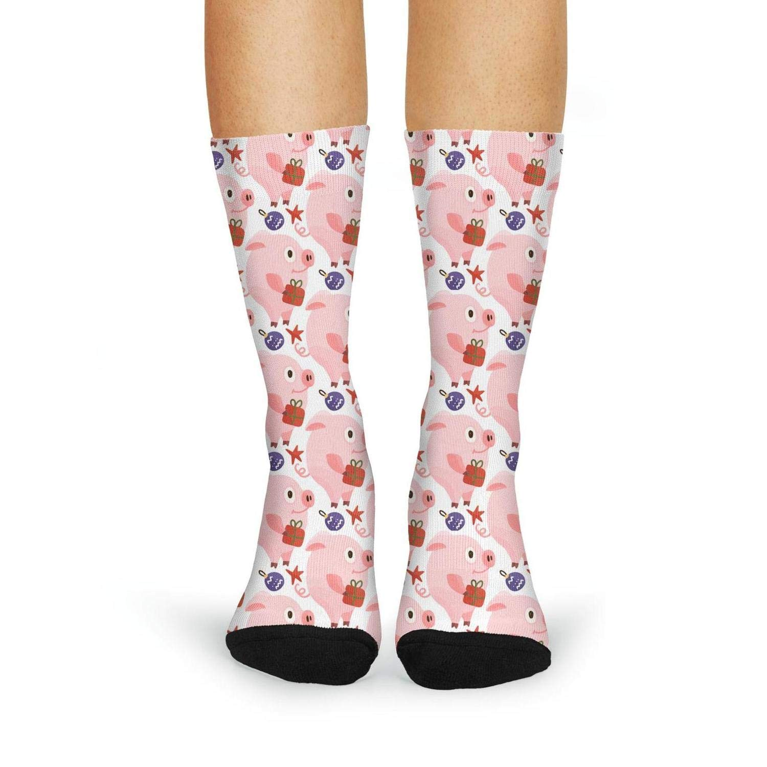 Cute Pink Pig Nose With Happy New Year novelty Crew Socks adult sporty Knee High Socks