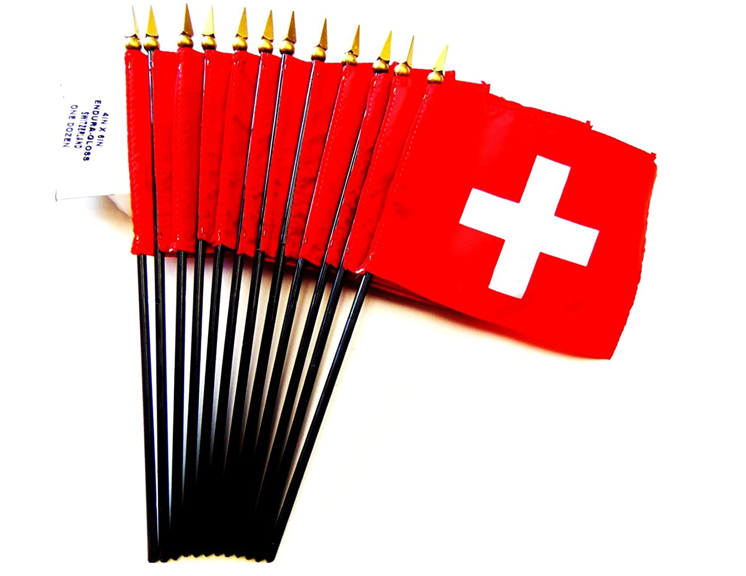 MADE IN USA! Box of 12 Switzerland 4x6 Miniature Desk /& Table Flags; 12 American Made Small Mini Swiss Flags in a Custom Made Cardboard Box Specifically Made for These Flags