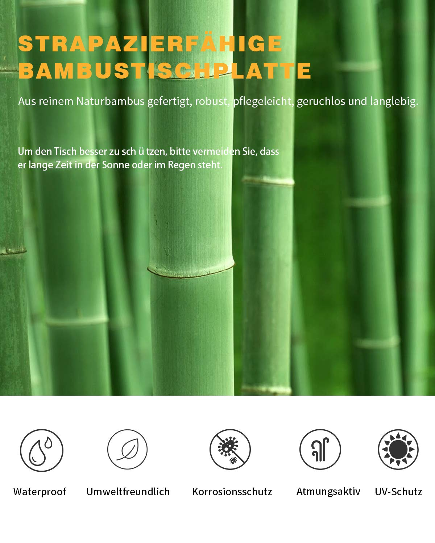 6 Personen KingCamp Bambus Campingtisch Klapptisch mit 3 verstellbaren H/öhen 4 Personen