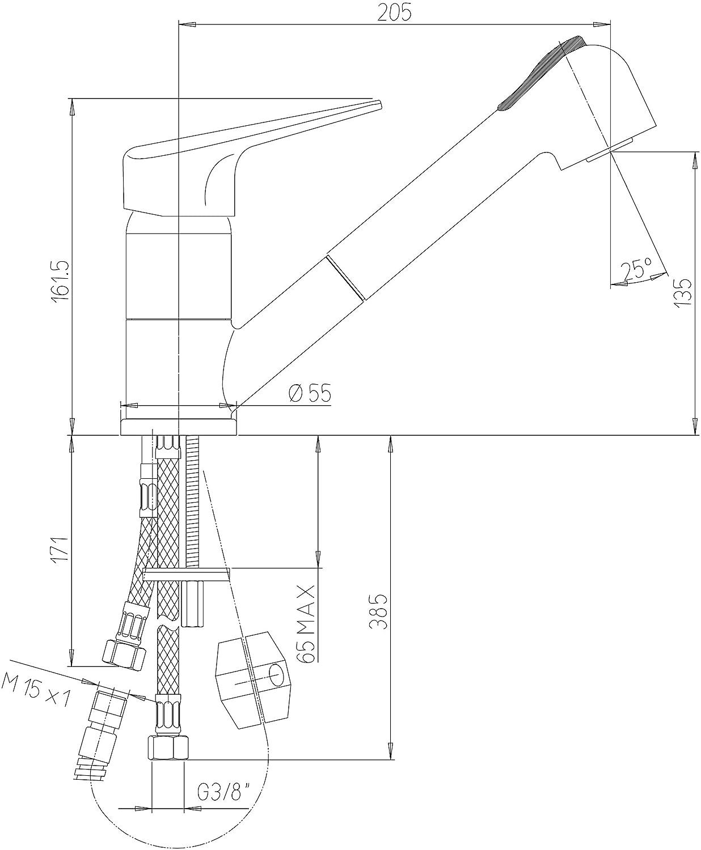 yellowshop/ /Mitigeur /évier cuisine douchette douche extractible granit avoine mod/èle nuage monotrou avec Flex inoxydable int/égr/é Robinet
