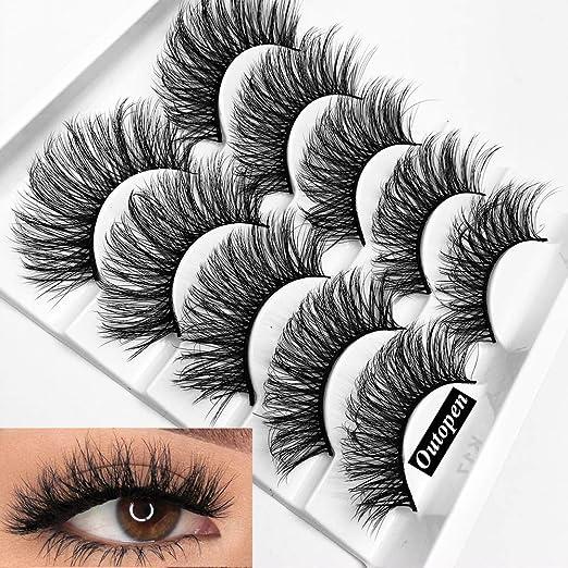 c8b285d6acd Amazon.com : Mixed 3D Mink Hair False Eyelashes Full Strips Thick Cross  Long Lashes Wispy Fluffy Eye Makeup Tools5 Pairs (Q1) : Beauty
