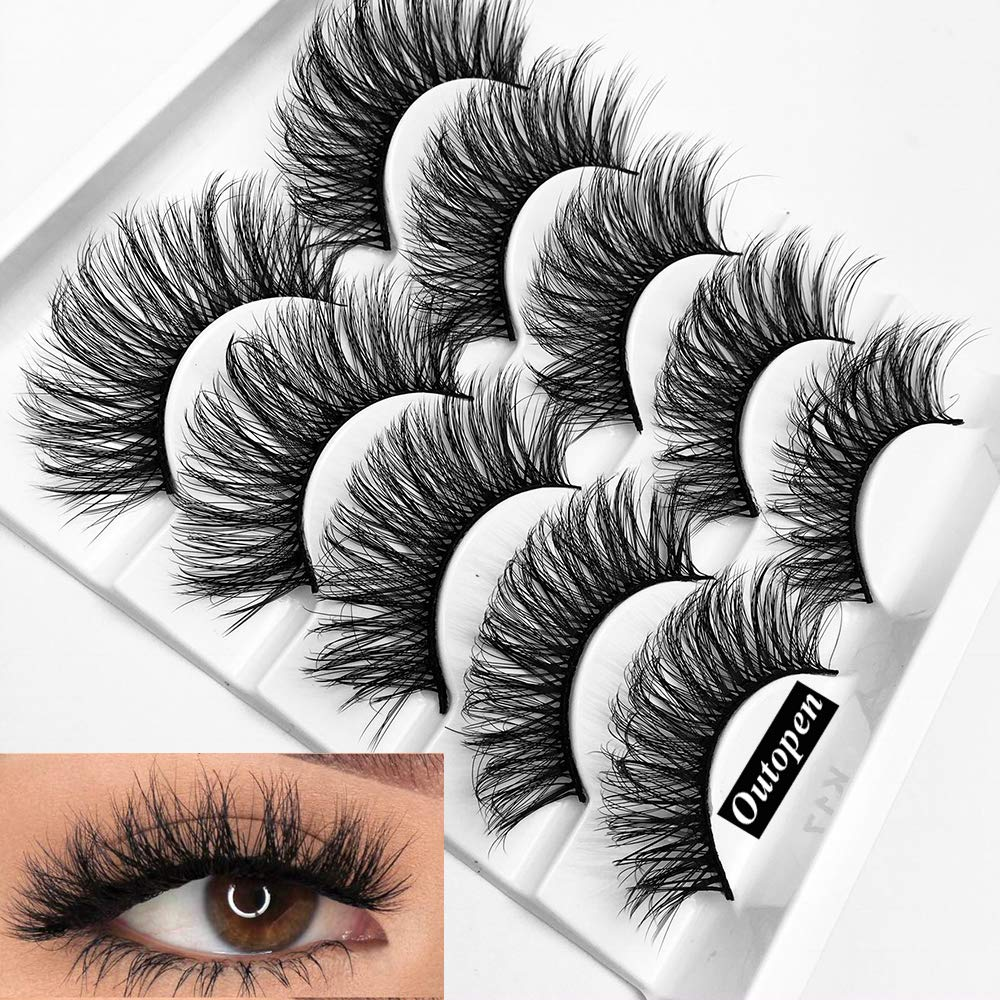 8c8ade196e4 Amazon.com : Mixed 3D Mink Hair False Eyelashes Full Strips Thick Cross  Long Lashes Wispy Fluffy Eye Makeup Tools5 Pairs (Q1) : Beauty