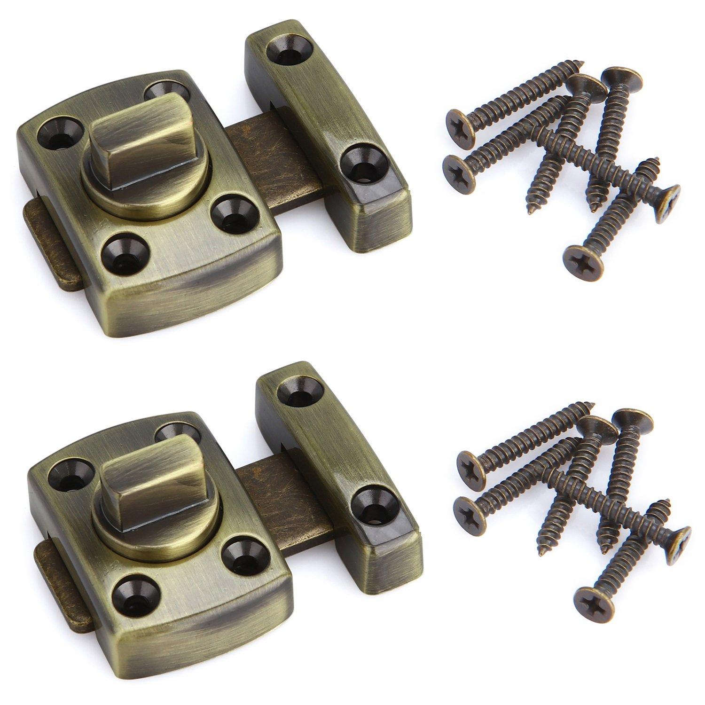Anndason 2PCS Small Size Rotate Bolt Latch Gate Latches Door Latch Bolts Safety Door Lock (Bronze)