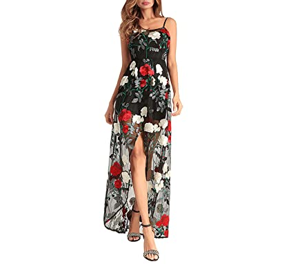 Fairy-Margot Women Floral Print Long Dress Hollow Out Casual Party Summer Beach Spaghetti Strap Vestidos at Amazon Womens Clothing store: