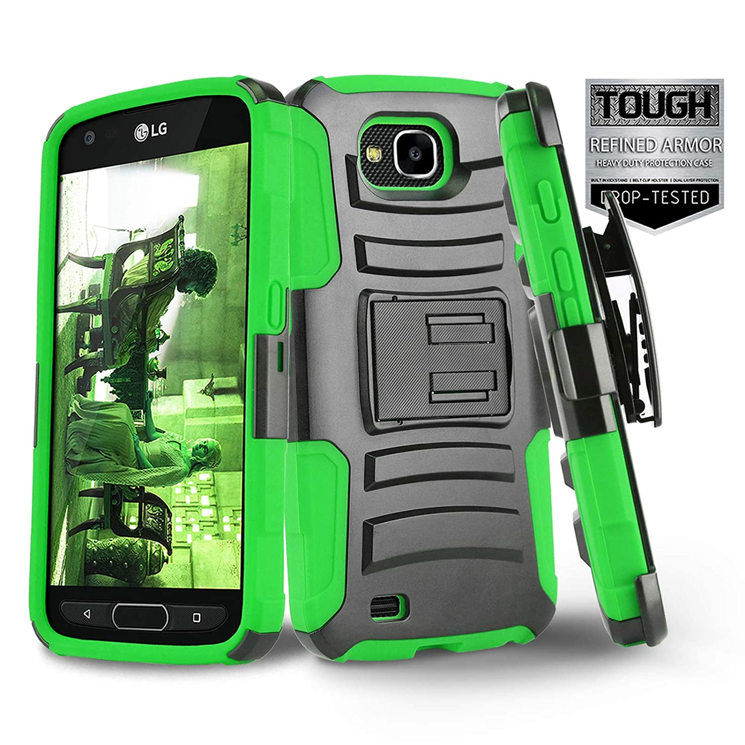 Phone Case for [LG X Venture (AT&T, US Cellular)], [Refined Series][Green] Shockproof Cover with [Kickstand] & [Holster Belt Clip] for LG X Venture (H700) AT&T, US Cellular