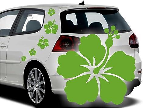 Folistick Hibiskus Hawaii Blumen Aufkleber Set Hibiskusblüten Autoaufkleber 5 Teilig LindgrÜn Auto