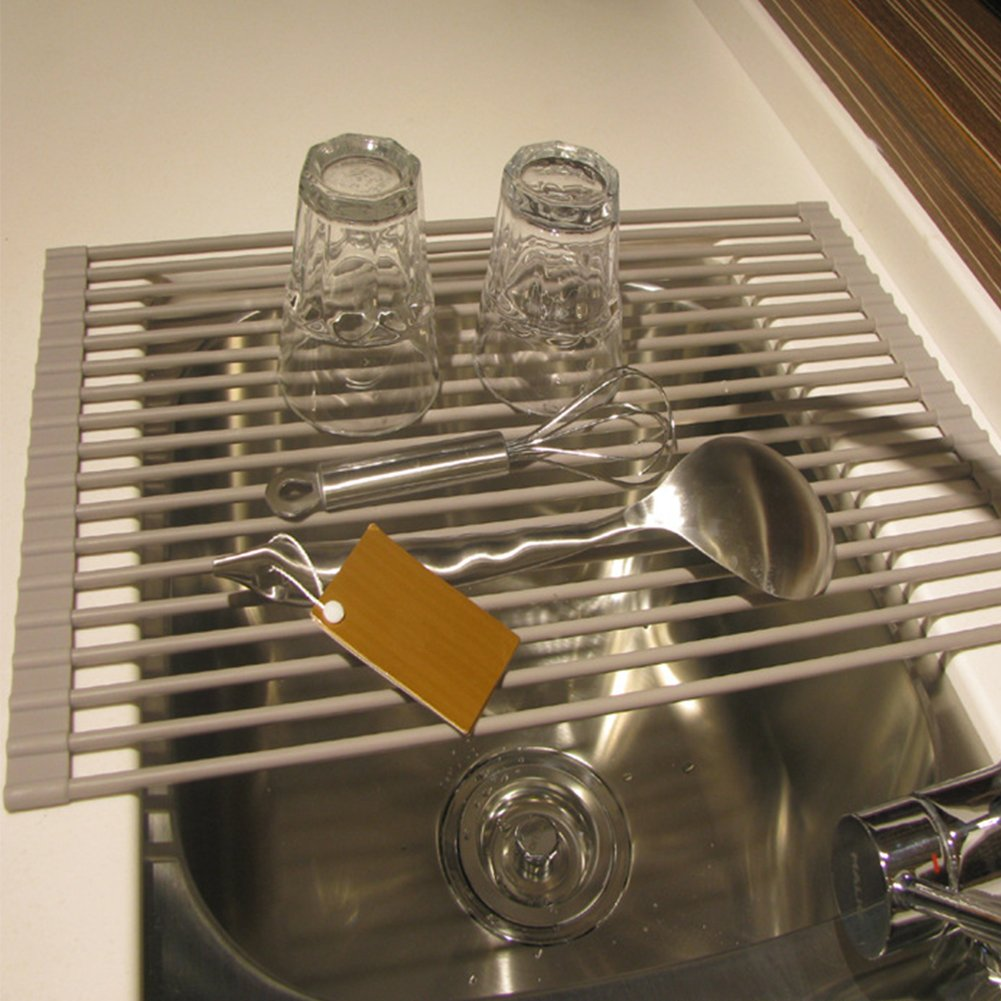 Roll-up Dish Drying Rack Stainless Steel Over the Sink Drainer Multipurpose Kitchen Drainer Rack GJ04 by QEES