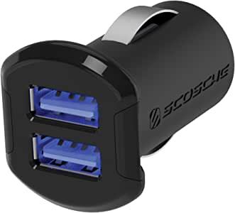 SCOSCHE USBC242M Revolt Universal Multi Device Compact Dual Port USB Car Charger, Black