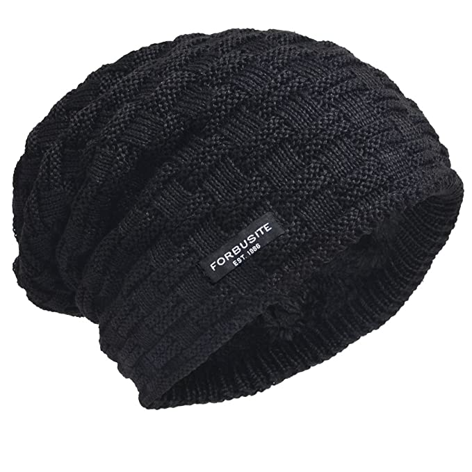 42b9158622bbf Men Lined Beanie Skull Cap Heavy Ski Hats BB5032 (Check-Black) at ...