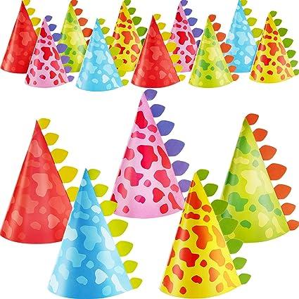 Gejoy 20 Pieces Dinosaur Party Hats Cone Dinosaur Birthday Party Hats for Kids Birthday Party Supplies 5 Styles