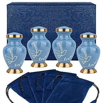 Set of 4 w Case Modern Love Dark Blue Small Keepsake Urns for Human Ashes