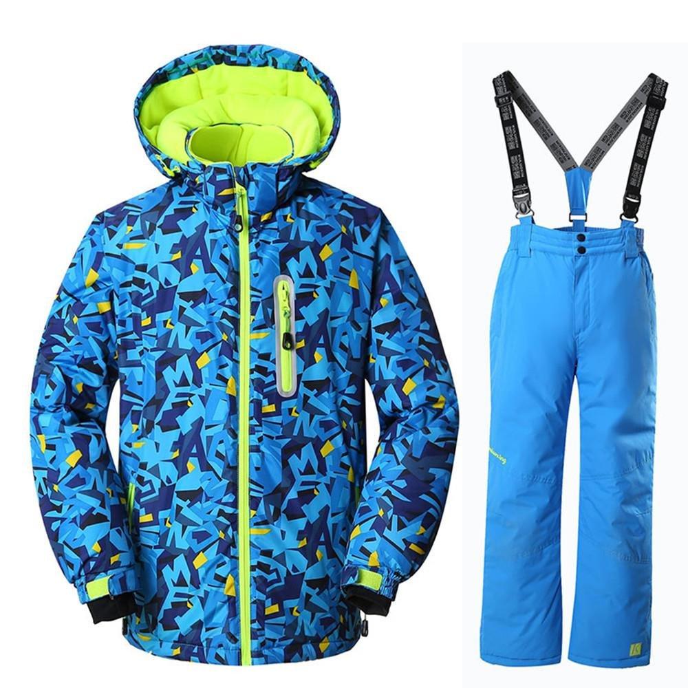 RIUIYELE Boys Fashion Waterproof Windproof Ski Jacket Heavyweight 2 Pc Printed Snowsuit with Pants
