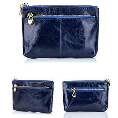 f4dad612b49c Aladin Leather Coin Purse with Key Chain - Triple Zipper Card Holder Wallet  Blue