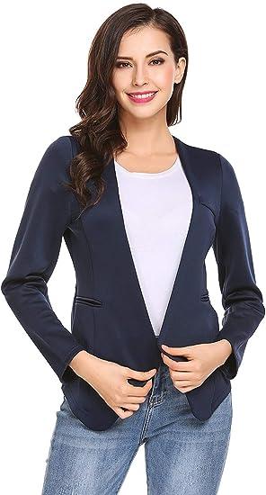 Mujer Cardigan Elegante Otoño Americana Slim Fit Unicolor Basic Manga Larga V-Cuello Camisa Outwear Ropa: Amazon.es: Ropa y accesorios