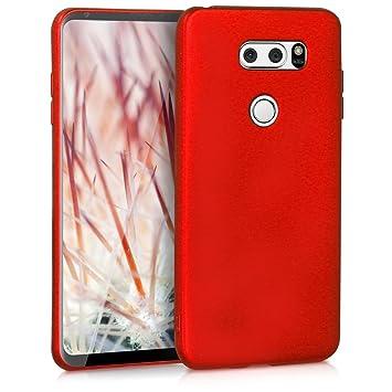 kwmobile Funda para LG V30 / V30S / V30+ / V30S+ - Carcasa para móvil en [TPU Silicona] - Protector [Trasero] en [Rojo Oscuro Metalizado]
