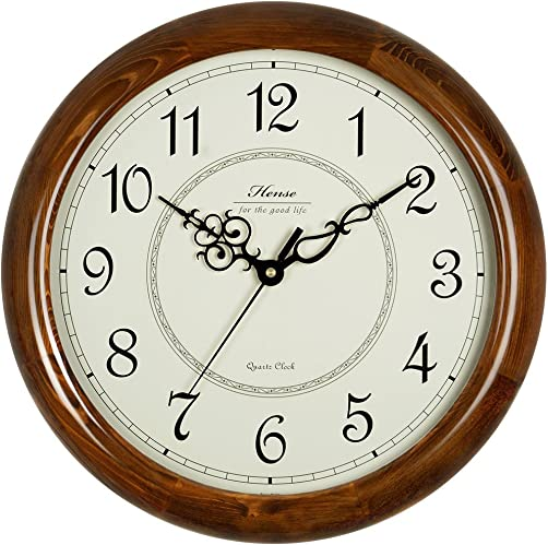 Hense 14-Inch Large Wood Wall Clock Retro Vintage Style Decorative Clocks Battery Operated Quartz Analog Silent Movement Wall Clock for Home Kitchen Living Room Arabic Numerial Dial Non Ticking HW18