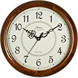 HENSE 14-Inch Large Wood Wall Clock Retro Vintage Style Decorative Battery Operated Quartz Analog Silent Movement Wall Clock for Home Kitchen Living Room Arabic Numerial Dial Non Ticking HW18