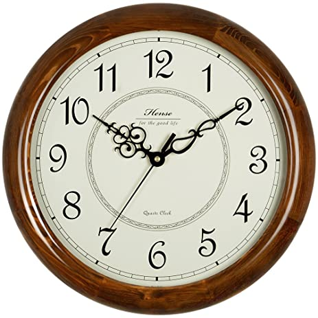 HENSE 14 Inch Large Wood Wall Clock Retro Vintage Style Decorative Battery Operated Quartz Analog