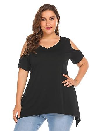 Zeagoo Women's Plus Size Vogue Off Shoulder Wide Hem Summer Short Sleeve  Loose Top Shirt