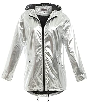 516a14da7b7c6 SS7 New Womens Silver Metallic Rain Mac Waterproof Raincoat Ladies Jacket  Size 8-16 (