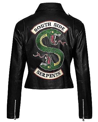 LeatherGrabs Southside Serpents Veste pour Femmes en Faux Cuir (XXS 5XL) Southside Serpent, Riverdale, Cheryl Blossom
