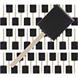 US Art Supply 2 inch Foam Sponge Wood Handle Paint Brush Set (Super Value Pack of 40) - Lightweight, Durable and Great for Acrylics, Stains, Varnishes, Crafts, Art