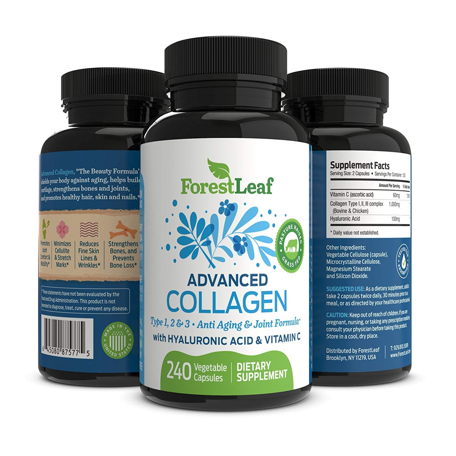 Amazon.com: Advanced Collagen Supplement, Type 1, 2 and 3 with Hyaluronic Acid and Vitamin C - Anti Aging Joint Formula - Boosts Hair, Nails and Skin Health ...