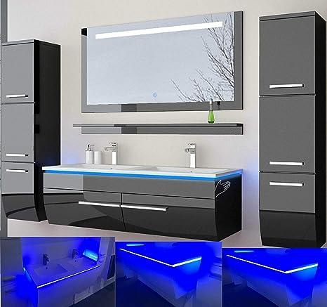 Badmobel Set Doppelwaschbecken Waschbecken Spiegel Und Ablage Vormontiert Badezimmermobel Led Hochglanz Lackiert Homeline1 Schwarz 120 Cm 2