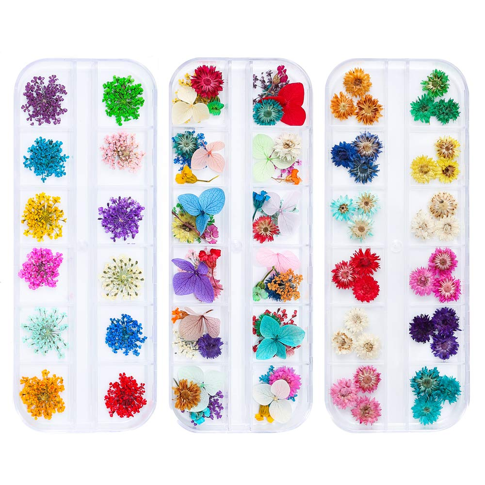 iFancer 108 Pcs Nail Dried Flowers 48 Colors 3D Nail Art Real Flowers Nature Dry Petals Leaves Decor for Nail Art Design Manicure Decoration by iFancer