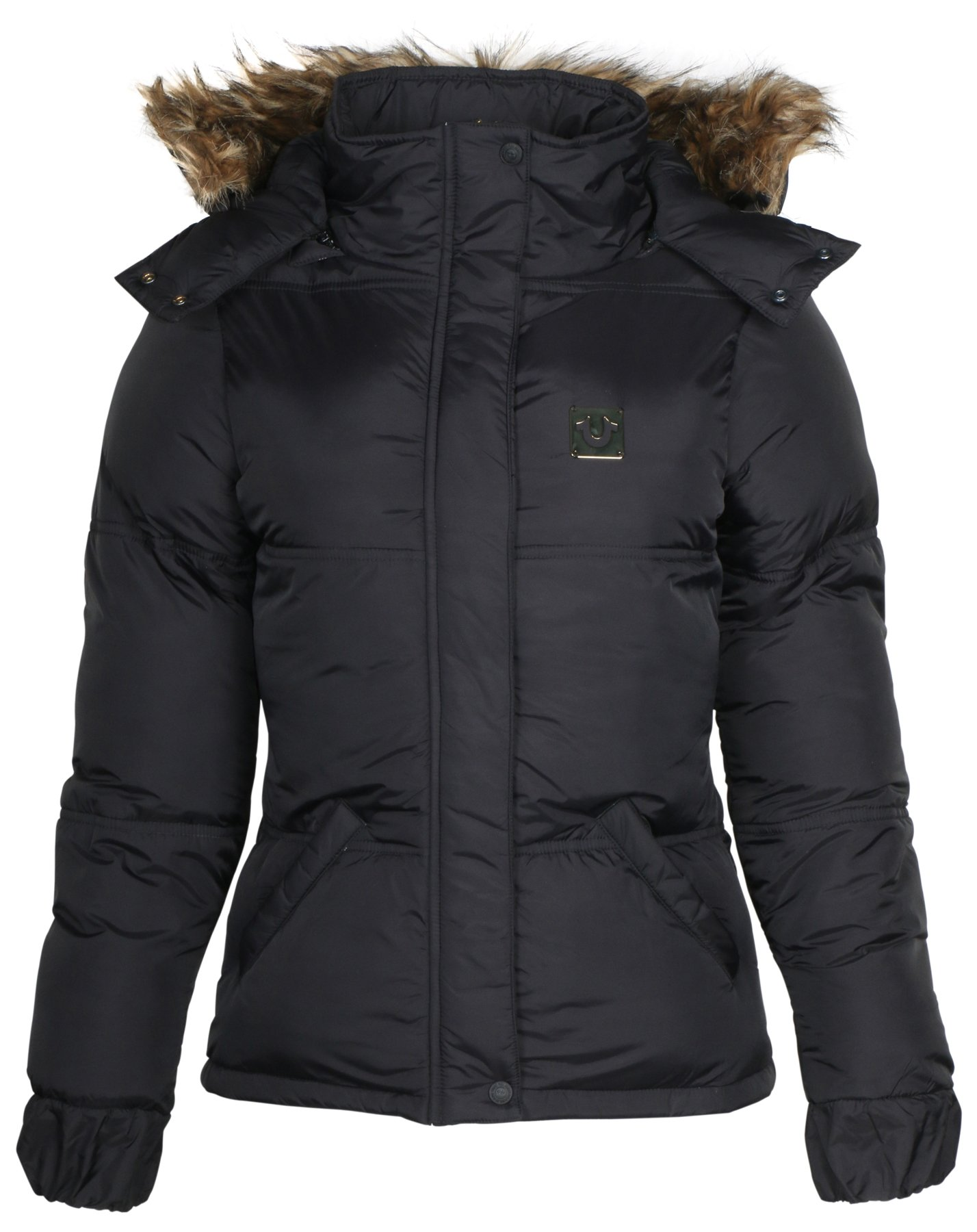 True Religion Women's Quilted Puffer Jacket with Hood-Black-XL