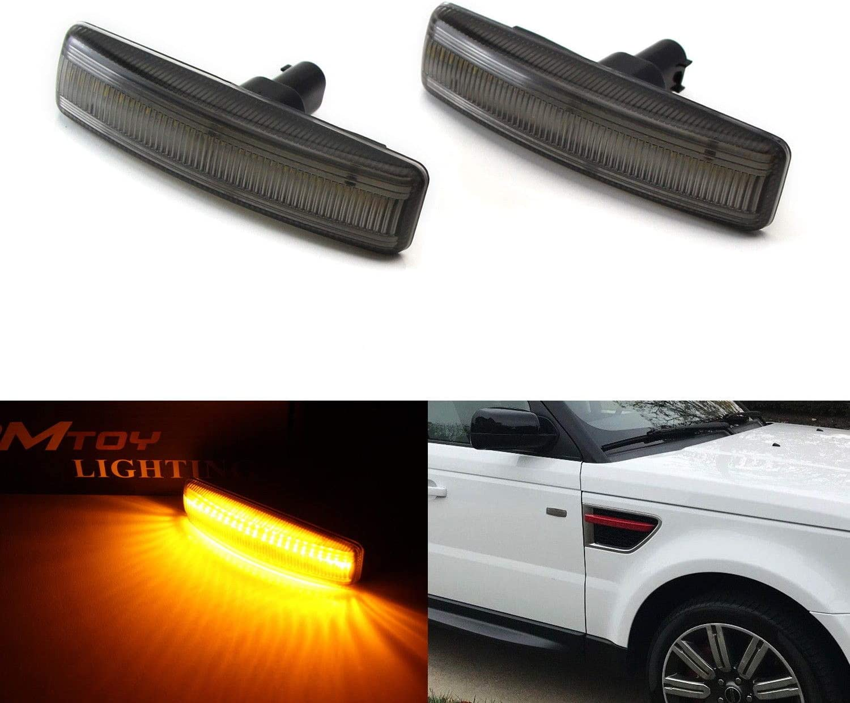 iJDMTOY Smoked Lens Amber Full LED Front Side Marker Light Kit Compatible with 2006-13 Range Rover Sport, 2008-09 LR2 Freelander, 2005-15 LR3 LR4 Discovery, 30-SMD LED, Replace OEM Sidemarker Lamps