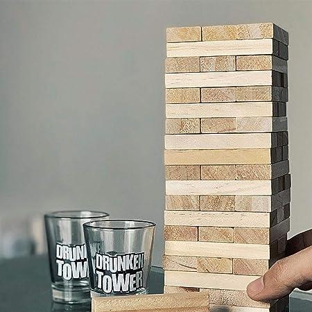 Original Cup - Drunken Tower Juego de Alcohol Infernal con peones - 60 Bloques de Madera - 4 Copas para Tirar - Juego de Noche - Juego de Beber: Amazon.es: Juguetes y juegos