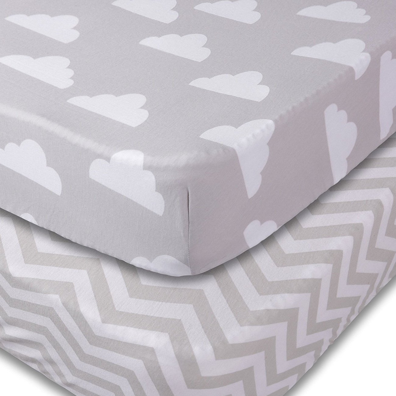 Crib Sheets, 2 Pack Unisex Clouds and Chevron Fitted Soft Jersey Cotton Bedding by Jomolly