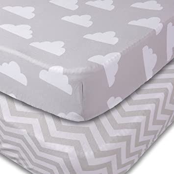 Crib Sheets 2 Pack Fitted Soft Jersey Cotton Sheet Bedding With Unisex Clouds And
