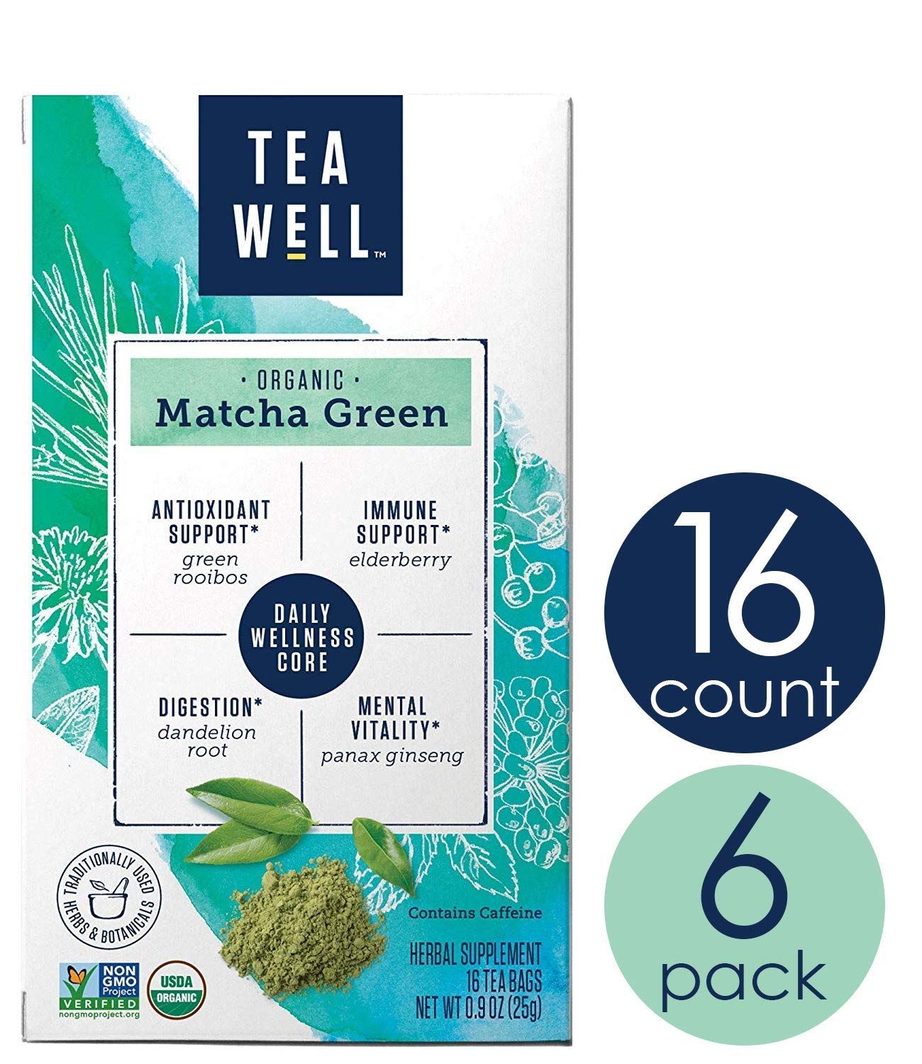 TeaWell Organic Matcha Green Wellness Tea, 16 Count Box (Pack of 6) by Tea Well