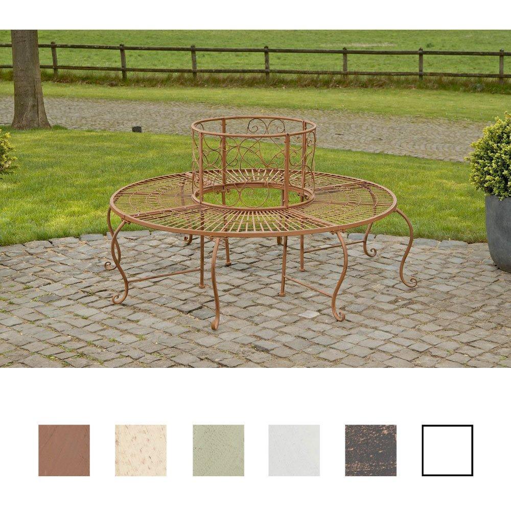 CLP 360° Metall Baum-Bank PEMA mit Lehne, rund Ø ca. 60 cm / 150 cm (innen/außen), Landhausstil, lackiertes Eisen, bis zu 6 Farben wählbar antik-braun