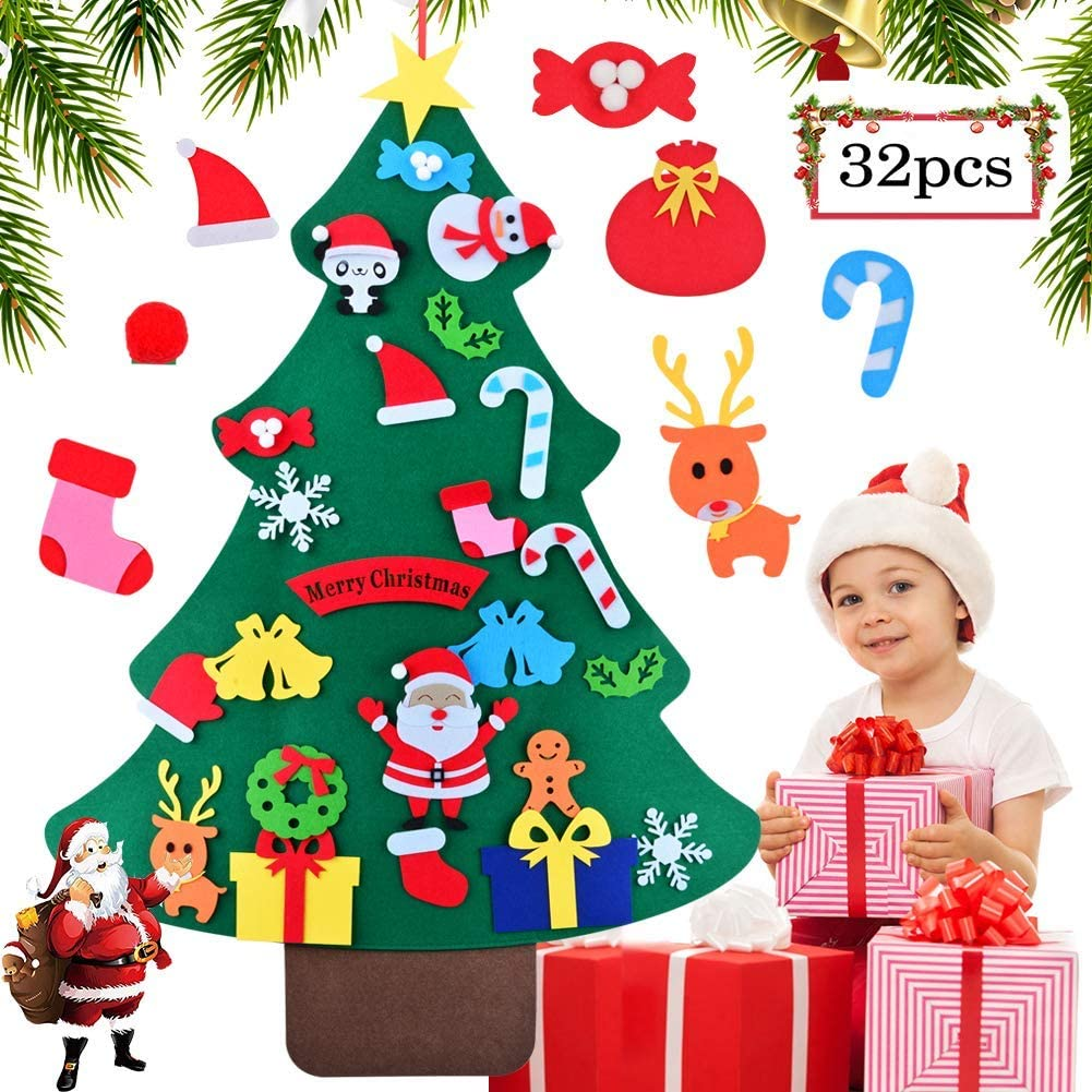 Felt Christmas Tree Toddlers DIY Christmas Decoration Tree with 32 Pcs Detachable Ornaments Wall Decor with Hanging Rope New Year Handmade for Kids